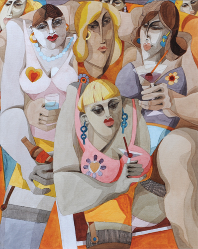 Hen Party (watercolor on paper, 24½x19½) by George Large