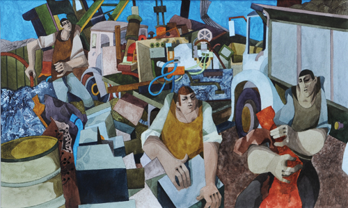 Scrapyard (watercolor on paper, 14½x23½) by George Large
