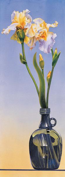 Green Vase (watercolor, 30x11) by Soon Warren