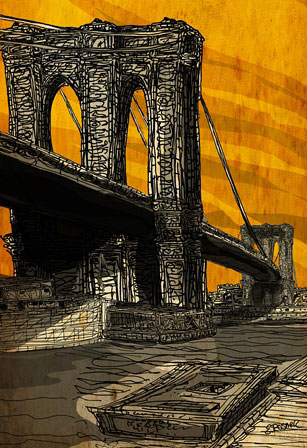The Brooklyn Bridge by Ed Rosner, whose work is featured in Drawing (Summer 2013)