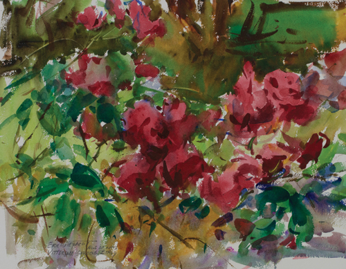 Vittoriale Gardens (watercolor on paper) by Eric Wiegardt