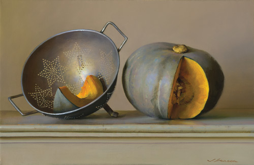 Squash and Strainer (oil, 16x24) by Jeffrey Larson
