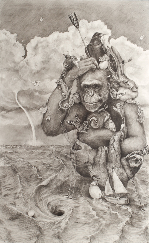 Chimp With Whirlpool, by Adonna Khare, 2013, carbon pencil, 60 x 42. Private collection.