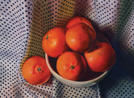 Clementines (watercolor on paper, 17.75.24.5) by Karen Isenburg