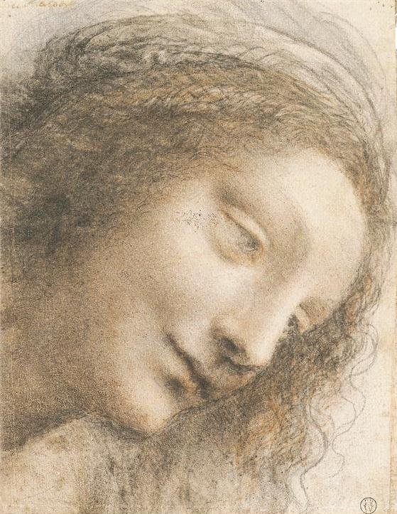 Head of the Virgin in Three-Quarter View Facing Right, by Leonardo da Vincni, ca. 1508-1512, charcoal and black and red chalk, 8 x 6 1/8. Collection The Metropolitan Museum of Art, New York, New York.