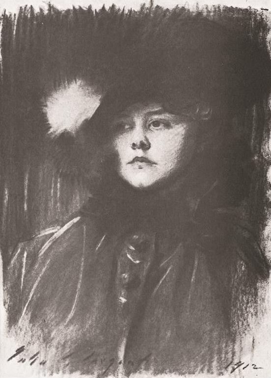 Helen Sears, by John Singer Sargent, 1912, charcoal, 23 1/4 x 17 1/2. Private collection.