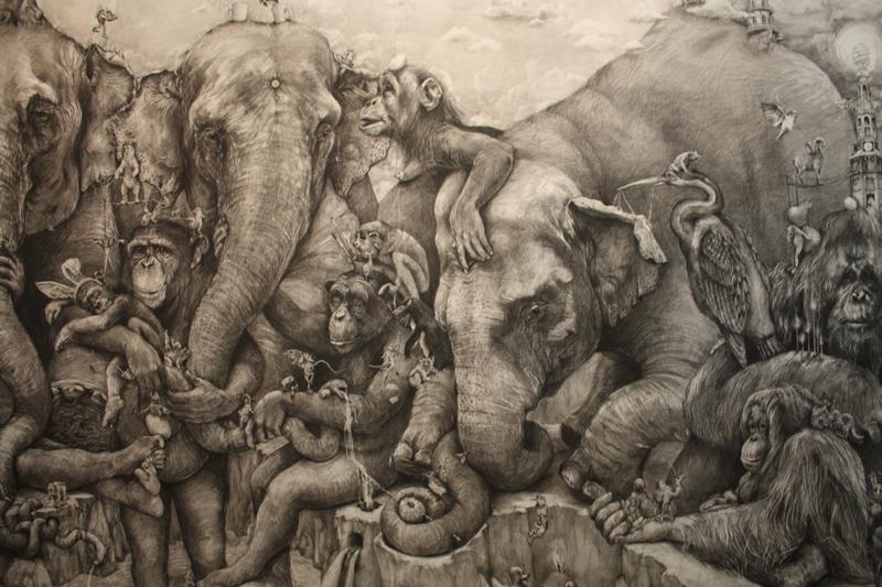 Elephants (detail), by Adonna Khare, 2012, carbon pencil, 8' x 36'. Courtesy the artist.