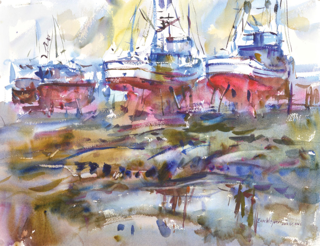 The trio of boats in Ilwaco Rest (watercolor on paper, 19x25) is the area of dominance in this painting, thanks to strong value contrasts, warm colors and edge details that I added when the paper was damp.