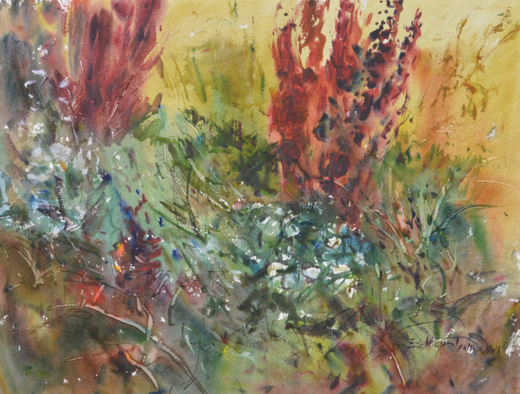 Compare the edge quality of the left side against the right side in Indian Tobacco (watercolor on paper, 19x25). The harder edges are reserved for the foliage and fl owers on the right, which is where I ultimately want the viewer's eye to land. I also grayed some of the colors on the left to give the right side more power and focus.