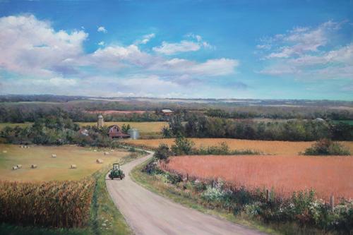 Iowa Fall Fields (pastel) by Marcia Wegman