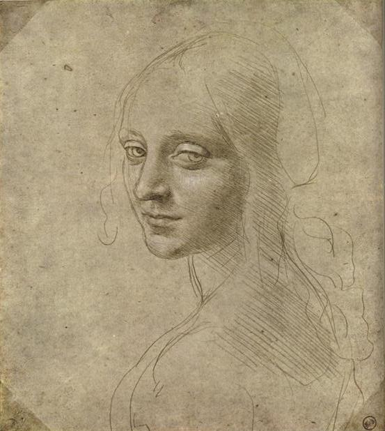 Study for the Angel in Madonna of the Rocks, by Leonardo da Vinci, silverpoint, 7 1/8 x 6¼.