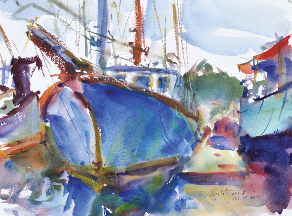 In Study of Ilwaco (watercolor on paper, 11x15), I used the hardest edges and the most intense blue for the boat in the foreground. I've left the other boats on the periphery very soft-edged. The viewer will know that they're boats by their association with the dominant one.