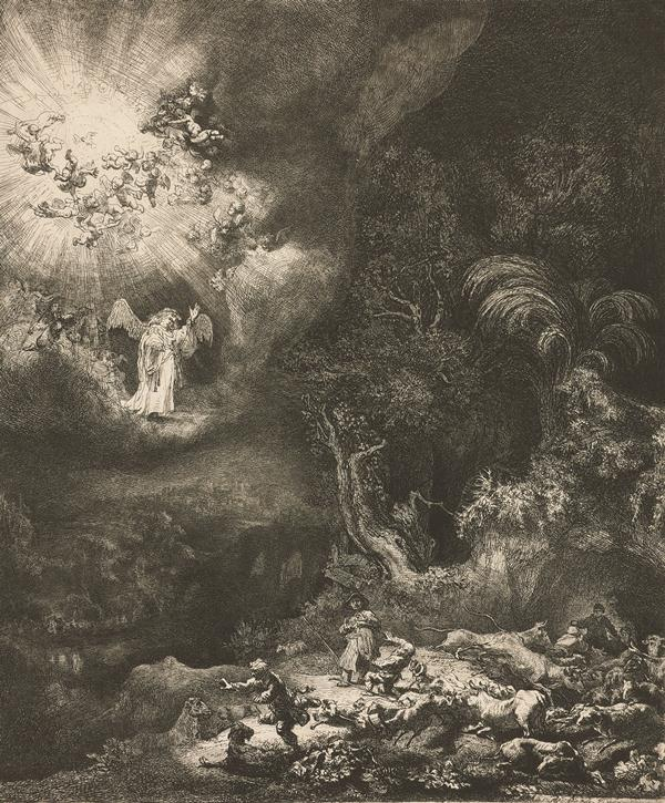 The Angel Appearing to the Shepherds, by Rembrandt van Rijn, ca. 1634, etching with drypoint, 10 3/8 x 8 11/16. Collection The Frances Lehman Loeb Art Center, Poughkeepsie, New York.