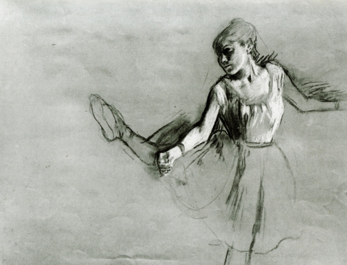 Study of a Dancer, by Edgar Degas, ca. 1880-1882, charcoal heightened with white, 19 x 24 13/16. Private collection.
