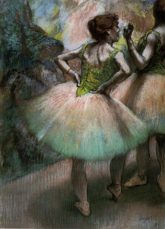 Pink and Green, by Edgar Degas, 1894, pastel, 26 3/8 x 18/34. Private collection.
