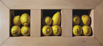 Lemons (oil, 14x30) by Noah Layne