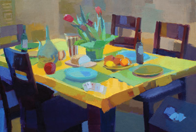 After Dinner (oil, 24x36) by Jennifer O'Connell