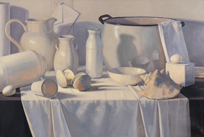 Study in White (oil, 24x36) by Eileen Eder