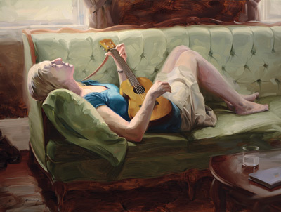 Ukulele Singer (oil, 18x24) by Rob Rey