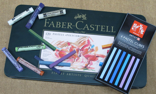 A selection of harder pastels offered by various manufacturers.