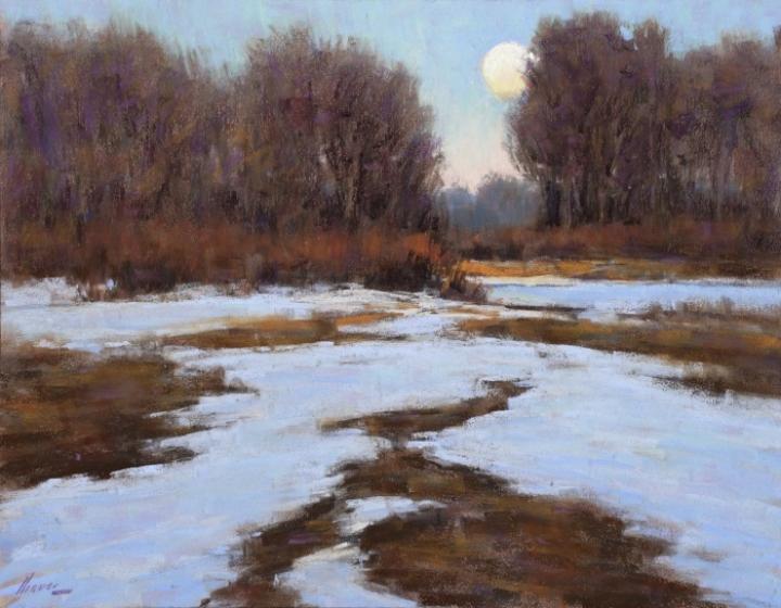 Moonrise-Platte River (pastel, 14x18) by Lorenzo Chavez