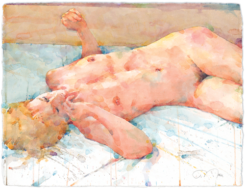 Blue Solitude | watercolor figure painting