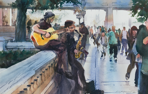 Buskin' Blues (watercolor on paper, 14x21.5) by Kristi Grussendorf