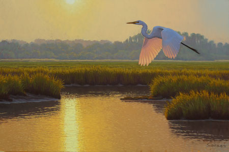Evening Egret, oil painting by Matthew M. Schulz