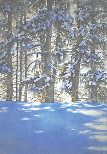 Through the Trees | snow painting