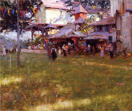 King Richard's Faire (1990; detail, oil on panel, 8x14) by Richard Schmid