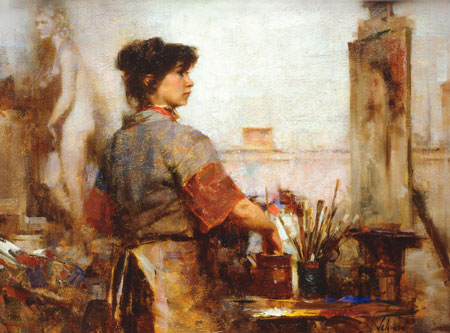 Nancy Painting (1988; oil on panel, 12x16) by Richard Schmid