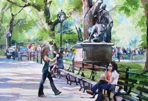 Photo Op in Central Park (watercolor on paper, 13.5x19.5) by Kristi Grussendorf