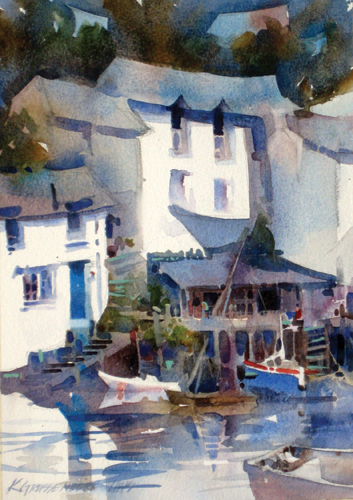 Polperro (watercolor on paper, 10.5x7.5) by Kristi Grussendorf
