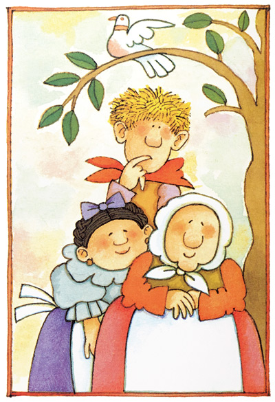 Big Anthony, Bambolona, and Strega Nona, along with dePaola's signature white bird