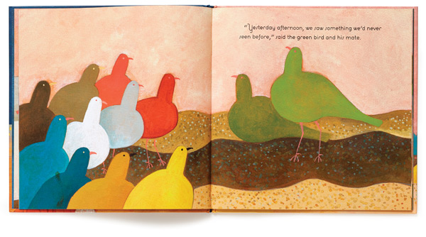 "A spread from The Birds of Bethlehem, whose pictures exemplify dePaola's conviction, ""It all starts with shape."""
