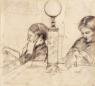 "Drawing for ""Evening"" by Mary Cassatt, 1879-80, conte crayon on paper"