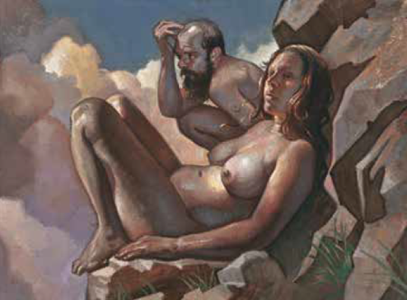 Couple on a Rock, painting by Stephen Cefalo