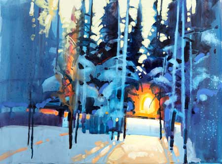 Stephen Quiller paints the winter landscape with acrylic in this DVD workshop