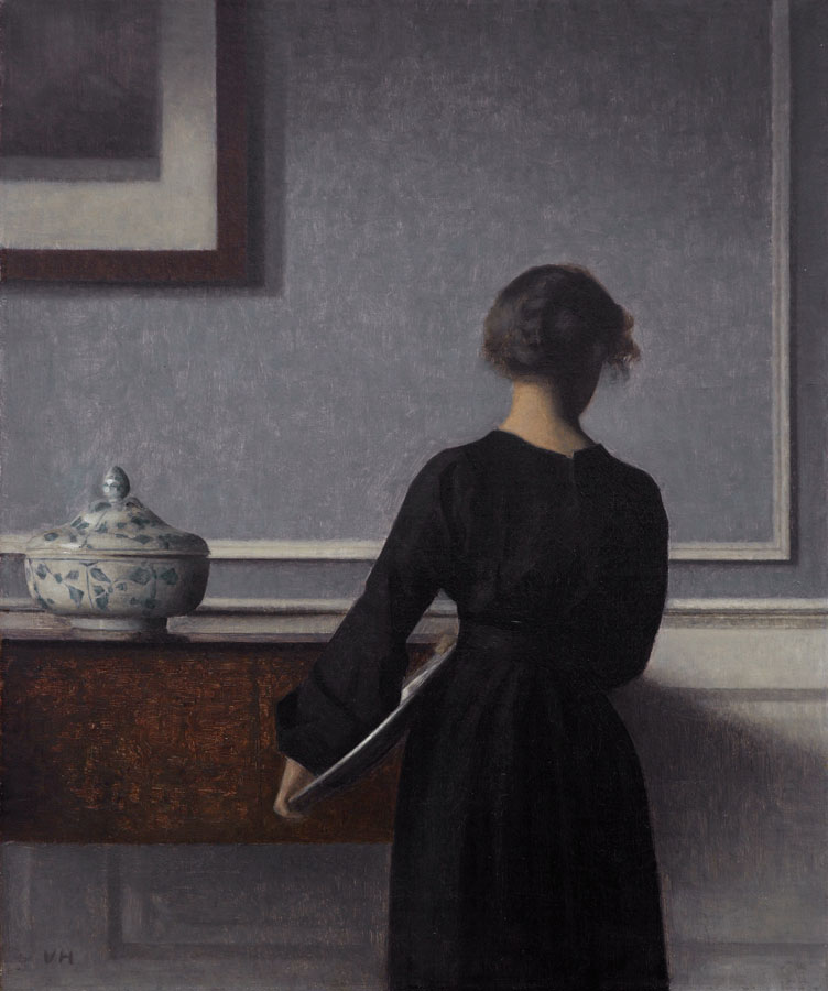 Interior with Young Woman Seen from the Back by VIlhelm Hammershoi