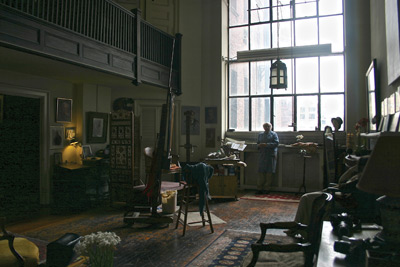 Kinstler's studio at the National Arts Club in New York City was once the studio of Frank Vincent DuMond, Kinstler's early mentor. Photo by Louise B. Hafesh