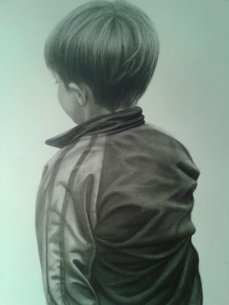 This is my grandson Gavyn, and it's a sneak preview from my new book. You'll be able to draw clothing like this, too!