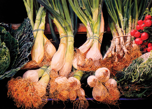 Onions in the Market (watercolor on paper, 18x26) by Laurin McCracken | award-winning paintings