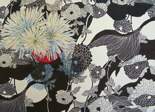 Yin Yang Mums (watercolor on paper, 22x30) by Deb Ward   award-winning paintings