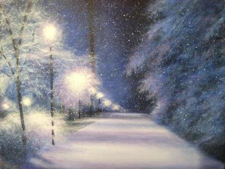 Acrylic winter scene in blue tones