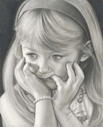 My granddaughter Cayla in graphite. This is one of my many family portraits that are within the pages of my books.