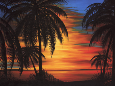 An oil painting of a Florida sunset.