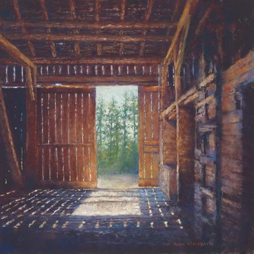 Barn Shadows (pastel, 17x18) by Helen Kleczynski | pastel painting