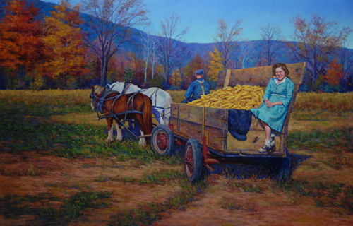 First Harvest (pastel, 20x31) by Jean Terry