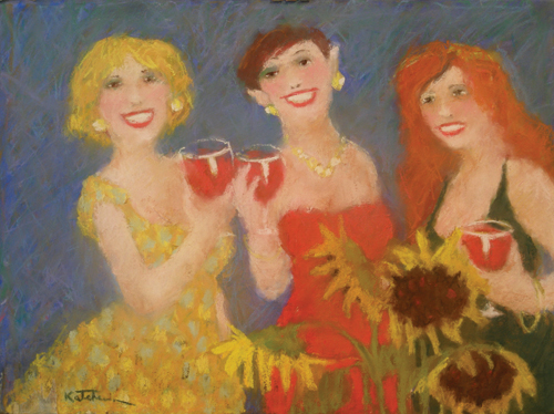 Girls' Night Out , version 1 | pastel painting
