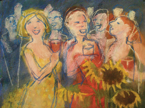Girls' Night Out , version 2 | pastel painting